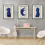 GEGEBIANHAOKAN Leinwand Wandkunst Yves Klein Moderne öLgemäLde Replik Druck Ausstellung Poster Home Decor FranzöSisch Moderne Kunst Druck GemäLde-50x70cmx3 Rahmenlos