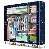 HONYGE LXGANG Vertikaler Garderobenständer, Wäscheschrank, tragbar, Schlafzimmermöbel, Kleidung, Schrank, Vliesstoff, Kleiderschrank, faltbar, zur Aufbewahrung von Kleidung