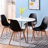 Uderkiny Essgruppen-A rund Esstisch und 4 Stühl eine MDF-Tischplatte und Stühle im nordischen Stil, Geeignet für Restaurants Küchen Balkone Buros (Weiß und Schwarz)