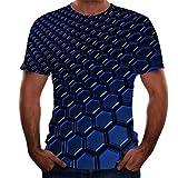 Qier Tshirt Herren Grafische Kurzarm-Oberteile, Baumwoll-T-Shirt, T-Shirts Mit Neuartiger Geometrie Und 3D-Druck, Blau, S.