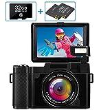 Digitalkamera Fotoapparat Digitalkamera Full HD 2.7K 30MP Kompaktkamera für YouTube Digitalkameras mit 32G Speicherkarte und 2 B