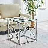 JaHECOME Mode Beistelltische fürs Wohnzimmer Edelstahl und gehärtetes Glas Stahl Sofatisch (Silver)