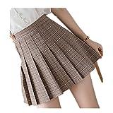 Damen kurzer plissierter Karo-Rock, schmale Passform, hohe Taille, adretter Stil, Röcke für Mädchen, Mini-A-Linie, sexy süße Kleidung Gr. S, khaki