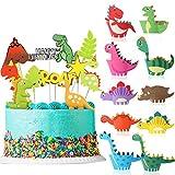 Kuchendeko Tiere Geburtstag, MMTX Tortendeko Dinosaurier 20 Stück Cake Topper Kuchendekoration Happy Birthday Girlande für Kinder Mädchen Junge Geburtstag Party Kuchen Dek