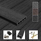 Montafox WPC Terrassendielen Dielen Komplettset Hohlkammerdiele Komplettbausatz Unterkonstruktion Clips, Größe (Fläche):18 m² 2.2m, Farbe: