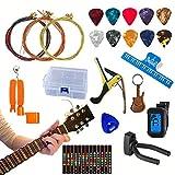 Guitaronix 37-teiliges Gitarren-Zubehör-Set inkl. Gitarrensaiten, Plektren, Plektren, Kapodaster, 3-in-1-Reparaturwerkzeug, Lederplektrum, Musikbuchclip, Stimmgerät, Griffbrett-Aufkleber