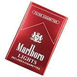 Zigarettenbox Wasserdicht FeuchtigkeitsbestäNdig und DruckbestäNdig Tragbare Metall-Aluminiumlegierung Automatisch 20 Zigaretten,red,Marlboro