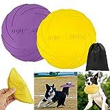 Hundefrisbee Scheibe Hund 2 Stück Soft Rubber Disc, 18cm Hunde-Frisbee Hunde Scheiben, Langlebiges Training Hundespielzeug, Interaktive Outdoor-Spielzeug für Große Hunde (L, Lila+Gelb)