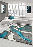 Designer Teppich Moderner Teppich Wohnzimmer Teppich Kurzflor Teppich mit Konturenschnitt Wellenmuster Türkis Grau Weiss Größe 120x170