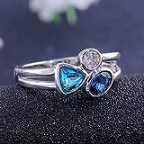 TZZD Fashion Big Blue-Stein-Ring-Charme-Schmucksache-Frauen CZ Trauringe Versprechen Verlobungsring Damen-Accessoires Geschenke Z4K146 (Main Stone Color : Ring M367, Ring Size : 6)