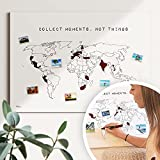 Weltkarte Reiserinnerung: 'collect moments' - Reiseweltkarte zum ausmalen, Weltkarte zum pinnen - nachhaltig & handemade in Germany, Weltkarte zum rubbeln - ist out - Größe: 60x40cm
