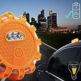 Qindalo BalizaV16 Notfallschild für Auto-Pannen, gelbes Licht, robuster ABS-Kunststoff und magnetischer Basis, 1 Licht und 3 Alkaline-Batterien im Lieferumfang