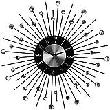 Decoline Design Wanduhr aus Metall (A) Strass schwarz g