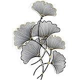 U/K Wandrelief Ginkgo Zweig Blätter Metall 127 cmX81 cmX9 cm Wandobjekt Natur Wanddeko Wohnzimmer Deko (Color : Silver)