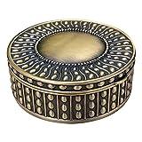 TYUIOO Vintage Runde Schmuck Dekorative Schmuckkasten Ringkasten Antike Metallkoffer (Messing (Mattgold), groß)