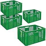 4x Eurobehälter durchbrochen, Stapelkorb, Industriequalität, lebensmittelecht, 600x400x320 mm, grü