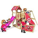 Spielturm Sparkling Heroows Stelzenhaus mit Kletterwand und Kletterleiter, großem Sandkasten, Schaukel & violetter Rutsche