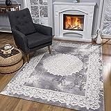 SANAT Teppiche für Wohnzimmer - Teppich Grau, Kurzflor Orientteppich, Öko-Tex 100 Zertifiziert, Größe: 80x150