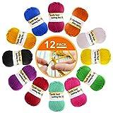 12er Pack Wolle - Garn Wolle Zum Stricken, Bunt Acrywolle Zum Häkeln, Häkelgarn Baumwollgarn Dicke Wolle für Anfänger in 12 leuchtenden Farben (je 13 g)