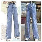 QXXKJDS Frühling Casual Frauen S Jeans Streetwear Hohe Taille Denim Hose Vintage Frauen Jeans Blaue Gerade Hose Denim Hose (Color : Sky Blue, Size : M)