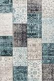 LIFA LIVING 160 x 230 cm Vintage Teppich für Wohnzimmer und Schlafzimmer, Wohnzimmerteppich mit Muster Patchwork, Blau Grau, aus weicher W