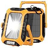 LED Akku Baustrahler Arbeitsleuchte Strahler Solar USB Wiederaufladbares Camping Lampe 7000mAh Powerbank Magnet Scheinwerfer Tragbare IP65 Wasserdicht Ständer Arbeitslicht mit 360° Drehung 12 Modi