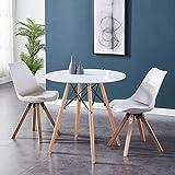 GOLDFAN Esstisch mit 2 Stühlen Set Esstisch Rund Weiß Küchentisch aus Holz Esszimmerstuhl aus Holz Küchenstuhl mit Kissen