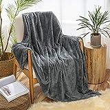 MIULEE Kuscheldecke Granulat Fleecedecke Flanell Decke Weich Flauschig Einfarbig Wohndecken Couchdecke Sofadecke Blanket für Bett Sofa Schlafzimmer Büro, 153x203 cm Dunkelgrau