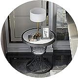 Wohnmöbel Nordic Beistelltisch aus Schmiedeeisen Wohnzimmer 2-stöckiger Marmor Couchtisch Kleiner runder Tisch Schlafzimmer Nachttisch Ecktisch 50×60CM