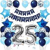 GRESAHOM Geburtstag Ballon Dekoration, 25. Marineblau Alles Gute Zum Geburtstag Ballons Banner Set, Stern Folienballons Latex Konfetti Ballons, Geburtstagsparty Dekoration Für Männer Frauen