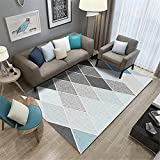 Teppich Schlafzimmer Blauer und Grauer rechteckiger Teppich, Kurze Stapel und kein Haardesign, Anti-Rutsch Teppich Schlafzimmer Teppich Industrial 80X120CM 2ft 7.5' X3ft 11.2'