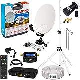 Mobile Camping SAT Anlage Ø35cm mit HD Receiver & Dreibeinstativ | Digital Set im Koffer mit Koaxkabel HDMI Kabel UHD Single LNB Satfinder | auch für Balkone geeig
