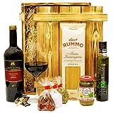 Geschenkset Verona | Italien Geschenkkorb gefüllt mit Wein, italienischen Spezialitäten & Holzkiste | Feinkost Präsentkorb mit Rotwein und Delikatessen für Männer & F