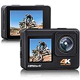 Action Cam 4K 24MP Sports Kamera Dual Screen Ultra HD unterwasserkamera Anti-Shake 170 ° Weitwinkel WiFi 2.4G Fernbedienung Zeitraffer 2.0 LCD Bildschirm Campark wasserdichte Helmkamera