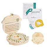Navaris Zahnbox Holz Junge mit Zahnfee Urkunde - Milchzahndose Brief Vorlage - Aufbewahrung Zahn - Kinder Baby Milchzähne Box - Niederländisch