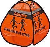 ABUS 73130 3D-Warnzelt Luke Aufsteller 'Spielende Kinder' für Spielstraßen, Einfahrten, Höfe, Reflektionsstreifen, schneller Aufbau, Orang