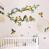 ufengke Wandtattoo Robin Vögel Wandsticker Wandaufkleber Baum AST Wanddeko für Kinderzimmer Schlafzimmer W