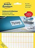 Avery Zweckform 3317 Haushaltsetiketten selbstklebend (20x8mm, 2.184 Aufkleber auf 28 Bogen, Vielzweck-Etiketten für Haushalt, Schule und Büro zum Beschriften und Kennzeichnen) blanko, weiß