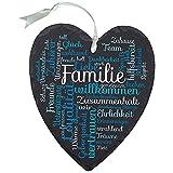 Geschenke 24 Schieferherz mit Gravur Familie (Blau): Wand Deko zum Aufhängen, Schieferplatte, Familienschild Haustür Eingangstür Oma und Opa Muttertag Vatertag