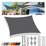 Sonnensegel Obi Grau rechteckig 2x2.5m UV-Schutz Regenfeste Sonnenblende Atmungsaktiv Für Terrasse Mit Schattensegel-Befestigung