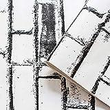3D Tapete Stein Papier Ziegel Strukturierte Tapete Peel & Stick Tapete Vintage Weiß Schwarz Ziegel Nähen Stein Tapete Selbstklebende Regaltapete Wasserdichtes Druckpapier für Wandtattoo