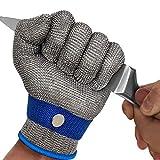 MAFORES Schnittfester Handschuh Stufe 9 Edelstahl Draht Metall Mesh Metzger Sicherheit Arbeitshandschuh zum Schneiden von Fleisch und Angeln, neuestes Material (groß)