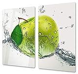 Herdabdeckplatte Schneidebrett aus Glas Universal 2-Teilig   2x je 30x52 cm Kochfeldabdeckung Ceranfeld Induktion Keramikherd Deko Grüner Apfel in Wasserwelle