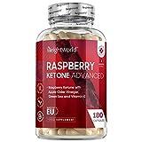 Himbeer Ketone - 180 Kapseln - Mit Vitamin C, Apfelessig, Fucus, Mango, Grüntee & Acai Beere - Vegane Nahrungsergänzung für eine Ketogene Ernährung - Raspberry Ketone Advanced - Von WeightWorld