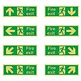 Ruluti 8 Stücke Klebstoff in Der Dunklen Feuerausgangschild Home Sichere Anleitung Zeichen Richtungspfeilen Safe Aufkleber