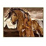 Jhmjqx Indianer-Figur, abstraktes Mädchen, Leinwandbild, Poster, Druck, Wandkunst, Bild für Wohnzimmer, Heimdekoration, 70 x 100 cm, 1 Stück, ohne Rahmen