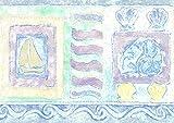 Dundee Deco BRAZBD6330 Tapetenbordüre, vorgeklebt, Kinder-Bordüre in Blau, Beige, Gelb, Grün, Fische, Muschel, Segelboot, Wand-Bordüre, Retro-Design, 4,57 m x 13,34 cm