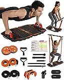 Gonex 10 in 1 faltbare Fitnessgeräte für Zuhause, tragbarer Bauchroller, Widerstandsbändern, Liegestützgriffe, T-Bar Row Trainingsgerät, platzsparend, perfekt für das Heim-Fitnessstudio