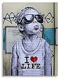 Wandbilder Druck auf leinwand Banksy Graffiti - Bild I Love My Life Bild fertig auf Keilrahmen Kunstdrucke, Wandbilder, Bilder zur Dekoration - direkt vom (20x30 cm)