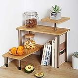 Eckregal aus Bambus und Metall, 3 Etagen, platzsparend, freistehend, für Schlafzimmer, Badezimmer und Büro